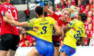 Manon Houette sous le maillot de Thüringer, contre Metz en Ligue des Champions la saison passée.